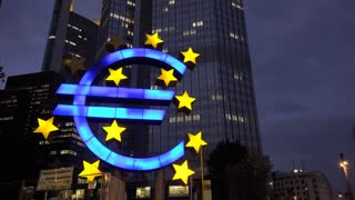 Euro symbol at night in downtown Frankfurt Germany 4k
