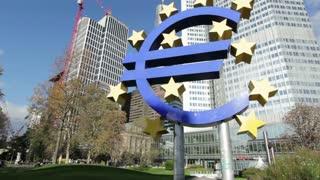Euro symbol in downtown Frankfurt tilt shot