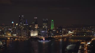 Evening skyline city view of Pittsburgh downtown 4k