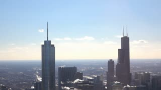 Exhaust coming form roof of tall buildings in Chicago Illinois 4k