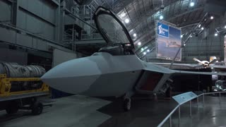 F-22 Raptor plane pan shot in WPAFB Museum 4k