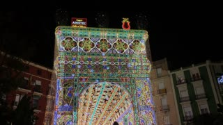 Fallas Celebration decoration in downtown Valencia Spain