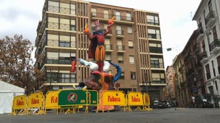 Fallas celebration with sculptures built in city streets 4k