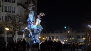 Fallas display in downtown Valencia Spain 4k