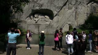 Families visit Lion of Lucerne