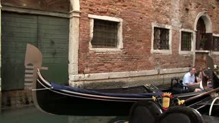 Family on gondola ride in Venice