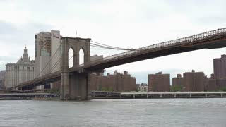 Famous Brooklyn Bridge seen from DUMBO area of New York 4k