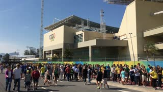 Fans at Olympic Park waiting to enter in Rio de Janeiro 4k