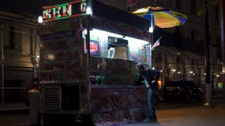 Fast Food stand in downtown New York City at night 4k
