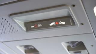 Fasten Seat belt sign in airplane 4k