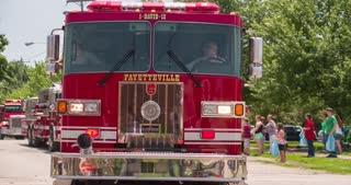 Fayetteville Fire Dept vehicle in Firemans Parade 2014 4k
