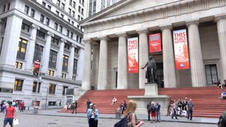 Federal Hall in downtown Wall Street area of New York City 4k