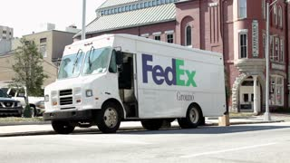 Fedex delivery truck in downtown Macon Georgia