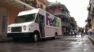 Fedex ground truck during Mardi Gras