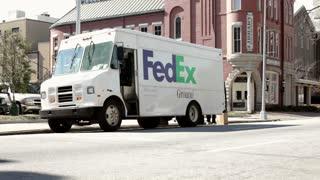 Fedex truck sitting on street in Macon Georgia