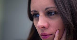 Female eyes close up using computer 4k.