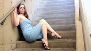 Female Model posing in Stairwell