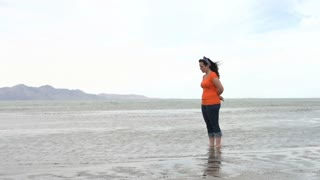 Female standing in the Great Salt Lake