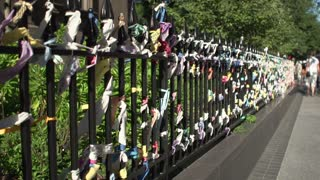 Fence of Arlington Street Church used as memorial