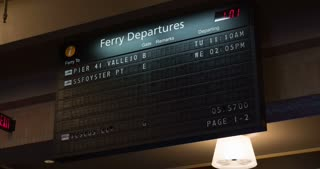 Ferry Departure board at Port of San Francisco 4k