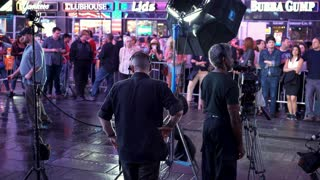 Film crew in downtown Time Square preparing for shoot 4k