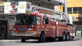 Fire and Rescue truck in downtown Las Vegas on Fremont 4k