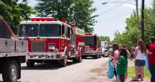 Fire and Rescue vehicles in Firemans parade 2014 4k