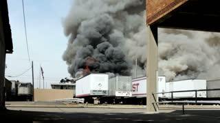 Fire from Scrap yard Cars