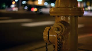 Fire Hydrant at intersection at night