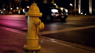 Fire Hydrant with flashing lights at night