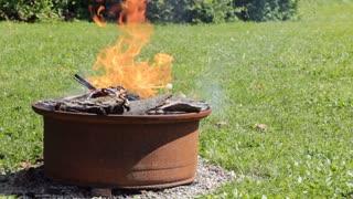 Fire pit in backyard tight shot