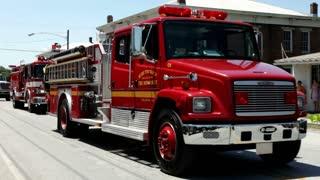 Fire Trucks in Fayetteville Firemans Parade