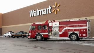Firetruck and police cars outside of Walmart in Logan Ohio