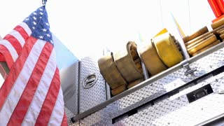 Firetruck with American Flag on back 4k
