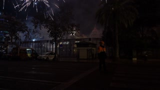 Firework display in downtown Valencia Spain for Fallas celebration 4k