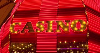 Flashing casino sign and neon lights 4k