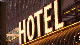 Flashing Hotel sign lights on casino