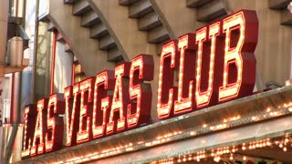 Flashing Las Vegas Club hotel lights on Fremont
