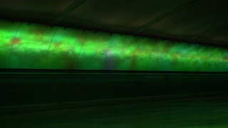 Flashing light show in connecting tunnel of Detroit airport 4k