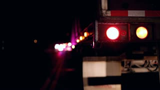 Flashing Tail light of Semi truck at Accident Scene