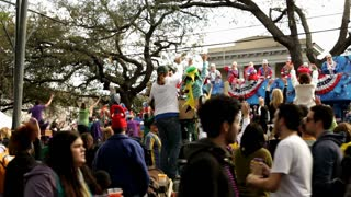 Float passes by as people cheer in mardi gras parade