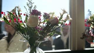 Flowers in store window