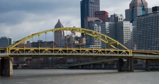 Fort Duquesne Bridge with Pittsburgh city in background 4k