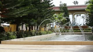 Fountains in lobby of nice resort