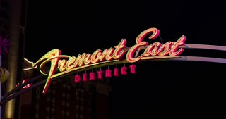 Fremont East District sign at night 4k