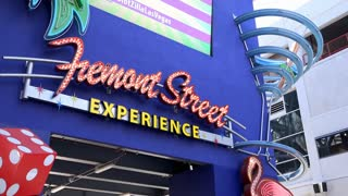 Fremont Street Experience sign in downtown Las Vegas 4k