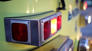 Front Lights of Firetruck Flashing