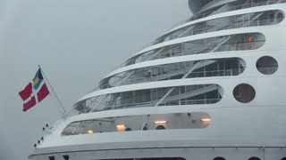 Front of cruise ship with rain pouring down