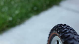 Front Tire of Bicycle view Riding
