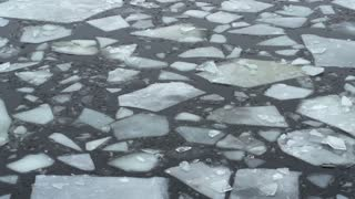 Frozen slabs of ice floating along as it melts